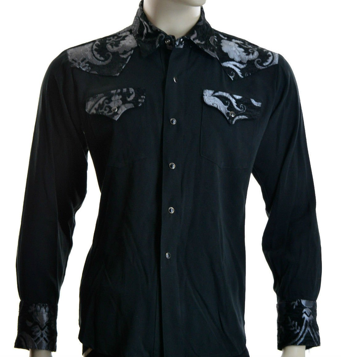 Shrine Rocker Steampunk Cowboy Rodeo Western Wild West Black Silver Tapestry Shirt (L)