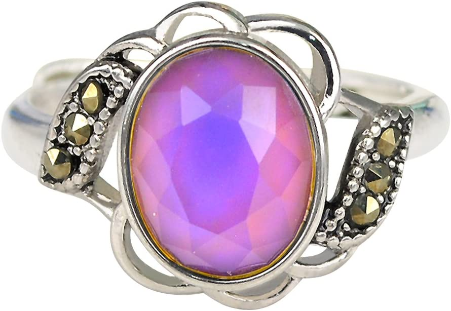 Fun Jewels Vintage Style Flower Multi Color Change Oval Facet Crystal Stone Brass Mood Ring