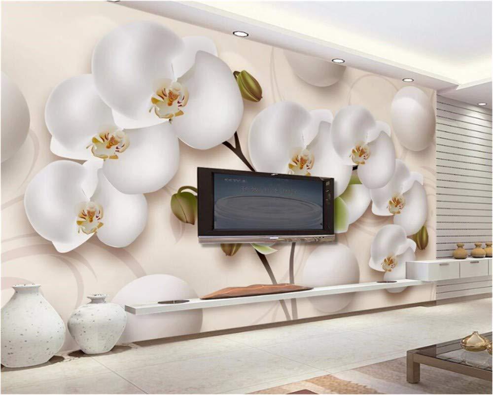 Weaeo 美しい三次元の美しい蝶の蘭の宇宙テレビの壁の壁画壁の家の装飾の3D壁紙-350X250Cm B07HCJRWJL 350X250CM 350X250CM