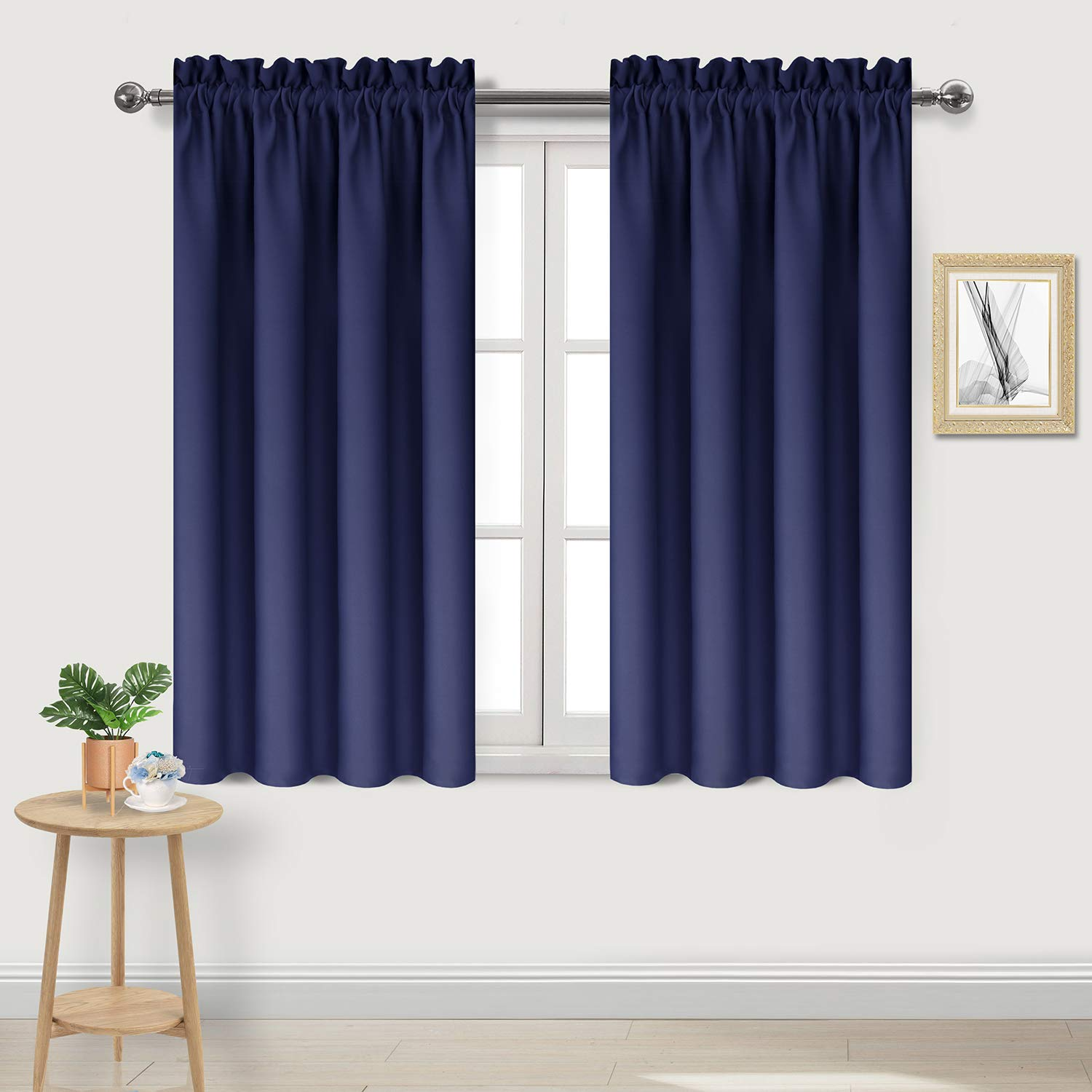 DWCN Blackout Curtains Room Darkening Thermal Insulated Living Room Curtains Rod Pocket Kitchen Curtains Short Curtain Panels, Navy Blue, 42 x 45 inch Length, Set of 2