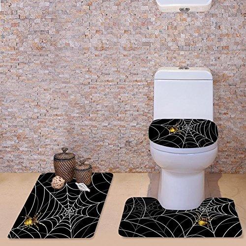 Showudesigns Thick Black Spider Web Toilet Seat Mat Overcoat WC Pad Bath Mat