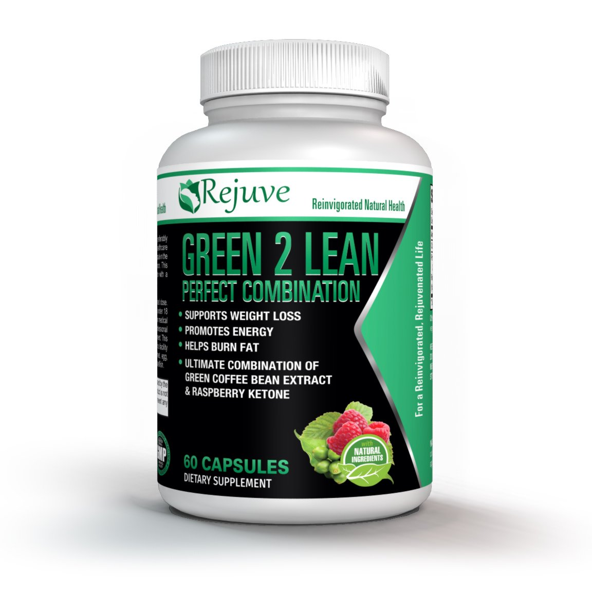 Rejuve Green 2 Lean Green Coffee Bean Supplement for Losing Weight - 100% Natural Formula Containing Green Tea, Raspberry Ketones & Garcinia Cambogia-Boosts Energy & Metabolism-60 Capsules
