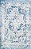 Cheap Traditional Persian Vintage Design Rug Blue Rug 4′ 11 x 8′ FT (244cm x 152cm) Sofia Area Rug Inspired Overdyed Distressed Fancy