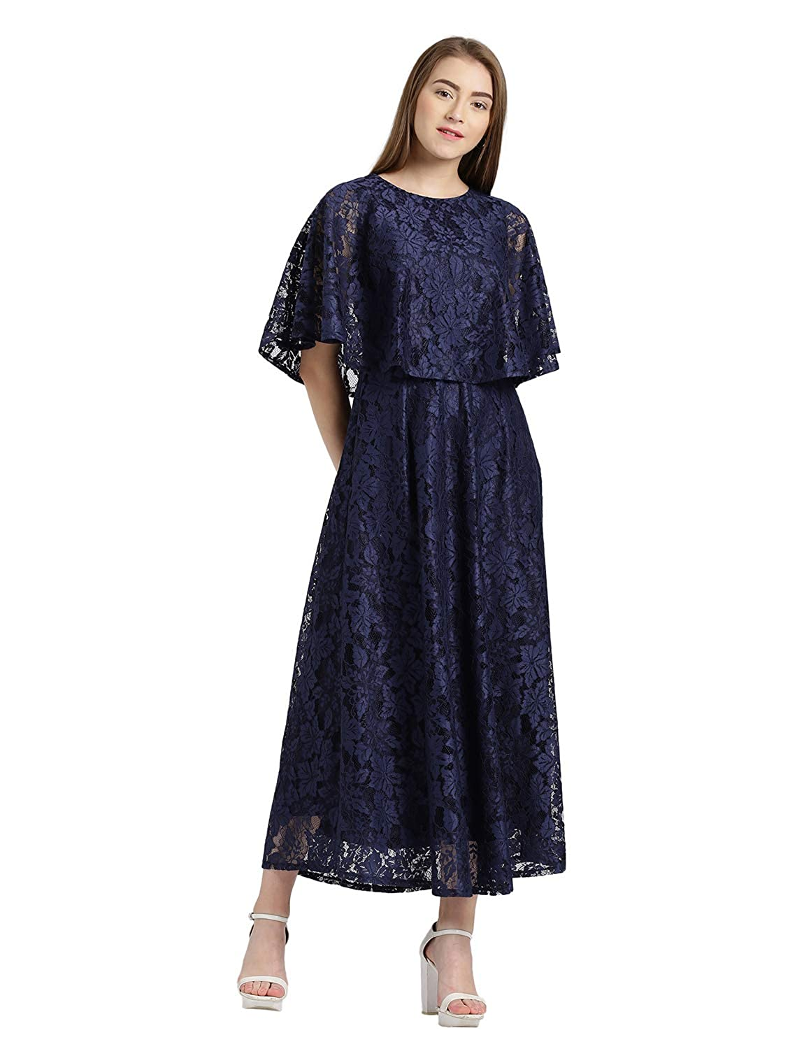 f6155e352a2ae Zink London Navy Cape Style Maxi Dress for Women (Small): Amazon.in:  Clothing & Accessories
