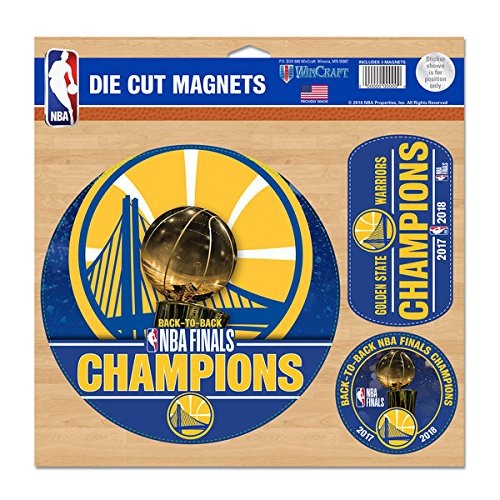 WinCraft Golden State Warriors 2018 NBA Finals Champions 3-Pack 11'' x 11'' Car Magnet Set by WinCraft