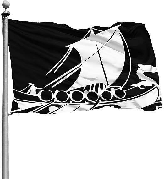 N/A - Bandera de Barco Vikingo, Duradera, Resistente a la decoloración, Bandera Oficial Ojales para Todas Las Estaciones y días Festivos, 4 x 6 pies: Amazon.es: Jardín