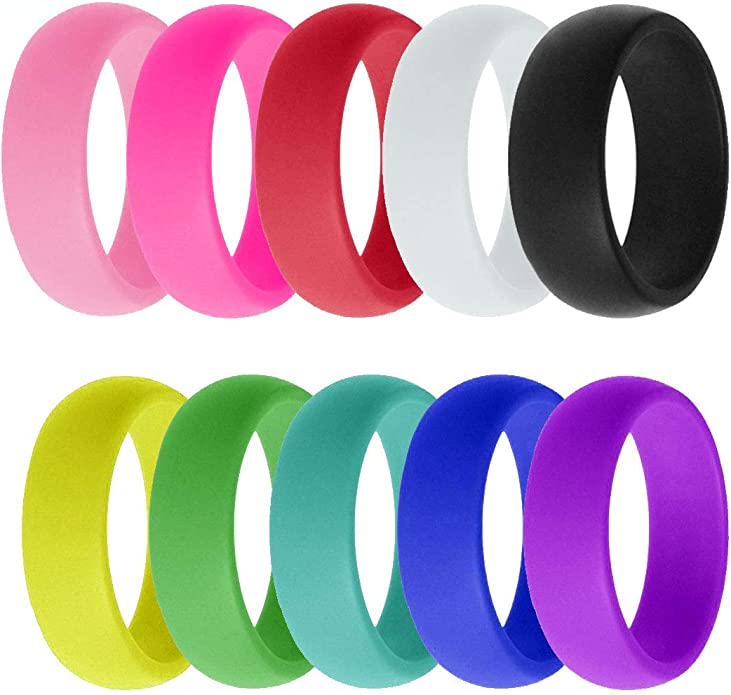 CHICMODA Silicone Rings Women Mens,8 Colorful Silicone Rings for Women Breathable Design Durable Comfortable Safe for Sports Fitness Workout Housework,8mm Wide,Size 5-12 Womens Rubber Wedding Band