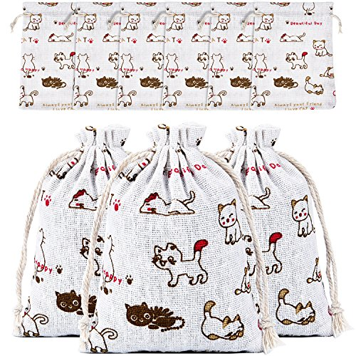 Gejoy 30 Pieces Cute Cat Pattern Burlap Bags Drawstring Linen Gift Pouches for Jewelry Candy, Wedding, Birthday Party Supplies, 5.5 x 3.9 inches -