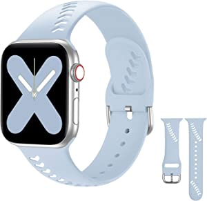 Compatible with Apple Watch Bands Series 5 Series 3 38mm 40mm Women Men iWatch Sport Bands, Soft Thin Silicone Watch Bands Replacement Strap Compatible for iWatch SE Series 6/5/4/3/2/1, Light Blue