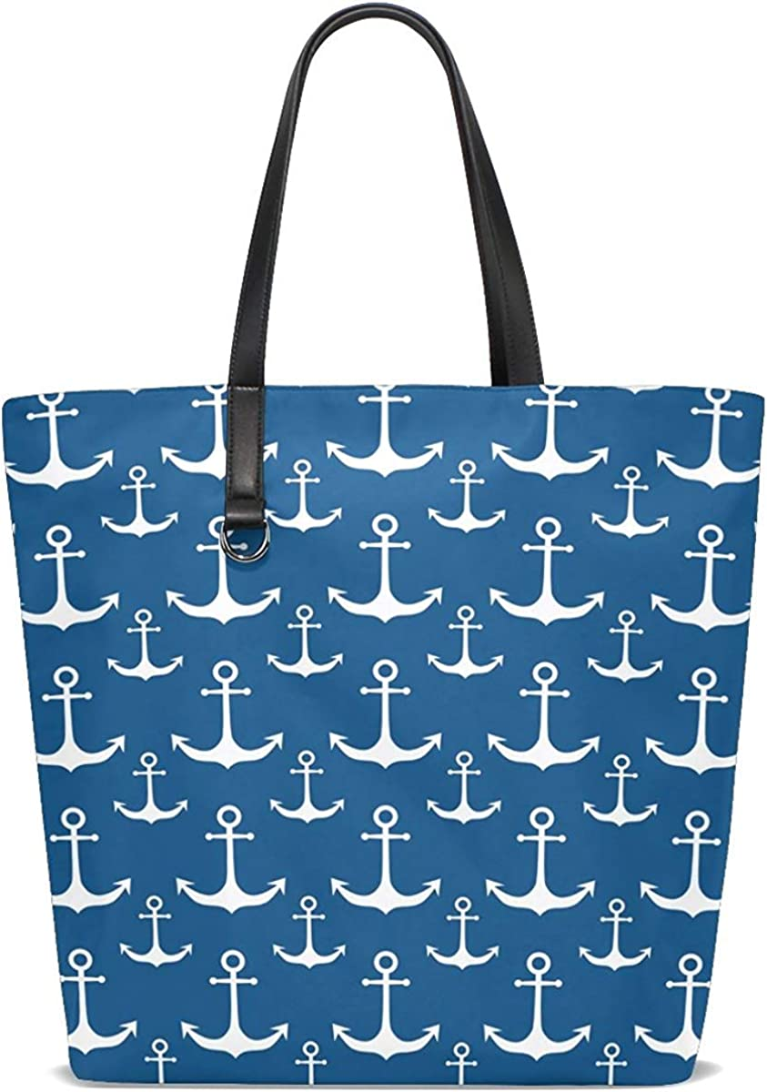 Handbag Purse Blue with White Nautical Anchor Leather for Womens Tote Bag Lightweight