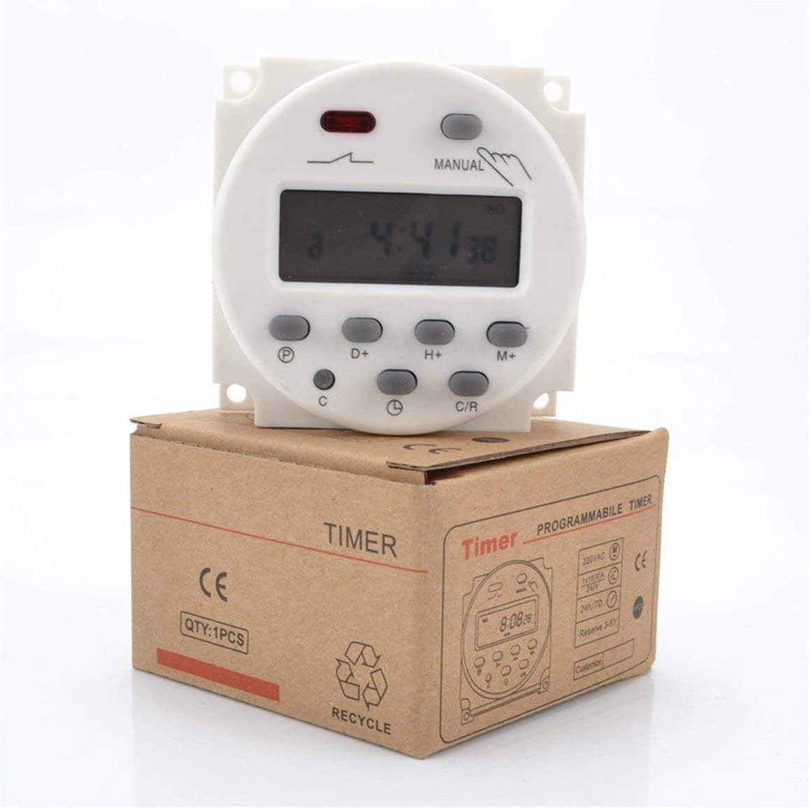 Paperllong/® Commutateur de minuterie programmable CN101A mis /à niveau AC//DC 12V 110V 220V Num/érique LCD Puissance Programmation hebdomadaire de la minuterie /à relais