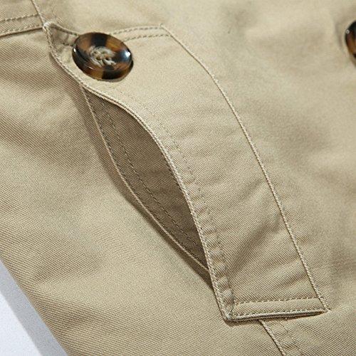 URBANFIND Herren Schlank Klassisch Single Breasted Wind Jacke US Size L Licht  Khaki: Amazon.de: Bekleidung