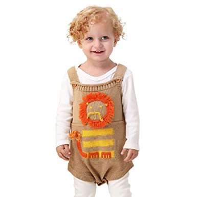 aba70cf63294 Amazon.com  Hauzet Toddler Knitted Lionet Rompers Newborn Baby Boys ...