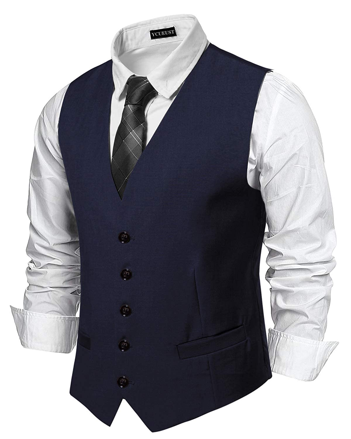 YCUEUST Men Classic V Neck Solid Color Casual Business Wedding Prom Waistcoat Gilet YCHENG08320YC