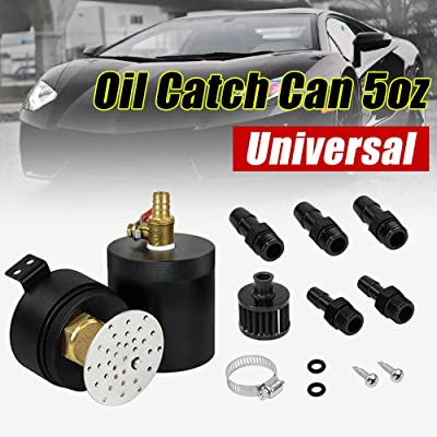 PQYRACING Universal 2ports Baffled Oil Catch Can Tank with Breather Filter 160ml M16×1.5 inlets&Outlet: Automotive