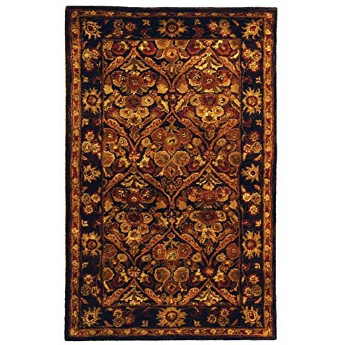 Safavieh Antiquities Collection AT51B Handmade Traditional Oriental Dark Plum and Gold Wool Area Rug (4' x 6') - Dark Brown Wool Rug