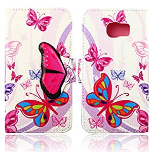 RASK Lovely PU Leather Card Holder Flip Wallet Type Magnet Design Case Cover for Samsung Galaxy S6 Butterfly Nabi
