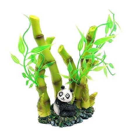Dimart Resina Artificial Realista Lovely Panda bambú Acuario Adornos para Fish Tank Verde