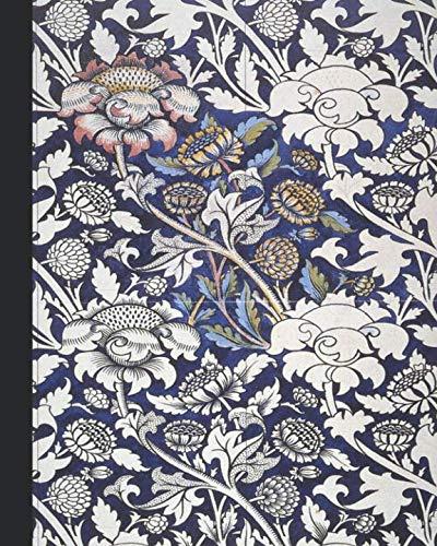 Vintage illustration journal: Unique designed dot grid Journal for the vintage illustration lover - Arts and craft movement - William Morris - Blue and pink wey printed textile design