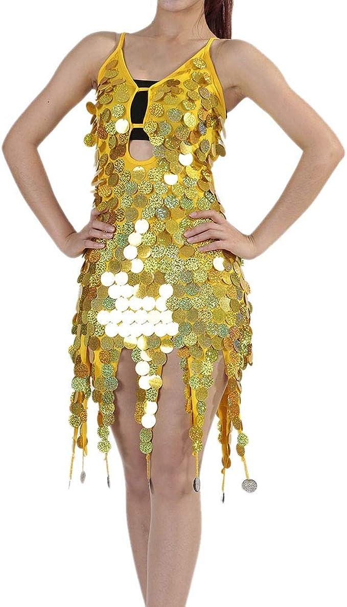 Gyratedream Latino Kleid Damen Latin Dance Dress Ballsaal Salsa Samba Rumba  Tango Tanz Kostüme Pailletten Kleider