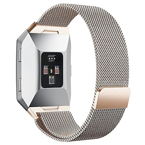 hooroor Metal Bands Replacement for Fitbit Ionic Watch, Milanese Stainless Steel Magnetic Replacement Wristband Small & Large (5.5 - 9.3) for Women Men (Champagne, Large: 6.9 - 9.3)