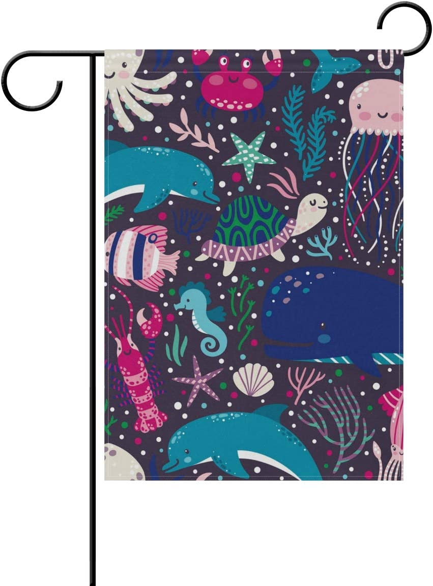 ALAZA Octopus Whale Jellyfish Decorative Garden Flag 12 x 18 inch Double Sided Yard Flag