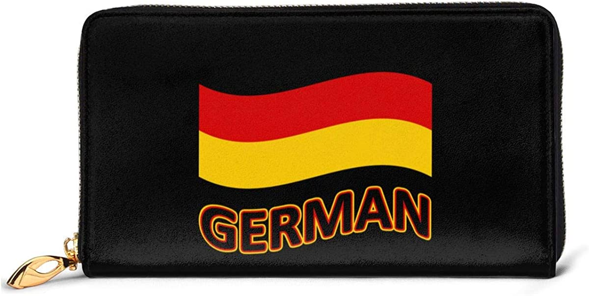 Germany Flag Womens Genuine Leather Wallet Zip Around Wallet Clutch Wallet Coin Purse