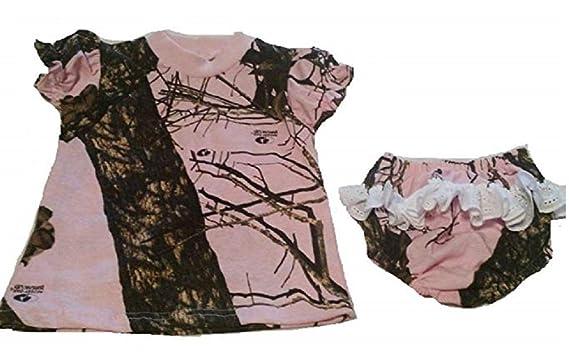 8b322ed1c798 Amazon.com  Mossy Oak Pink Camo Baby Girls 2pc Dress Short Sleeve ...