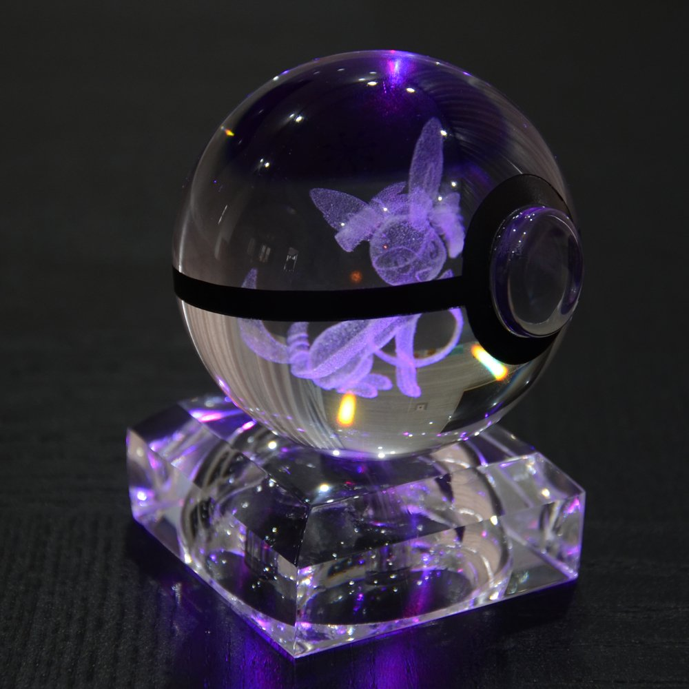 S-SO 3D Sylveon Pokemon pokeball Elf K9 crystal children Night Bedroom LED desk table RGB 7 color changing Light lamp