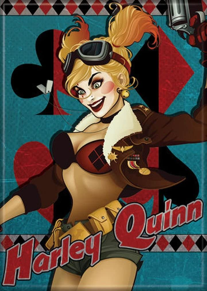 "Ata-Boy DC Comics Bombshells Harley Quinn 2.5"" x 3.5"" Magnet for Refrigerators and Lockers"
