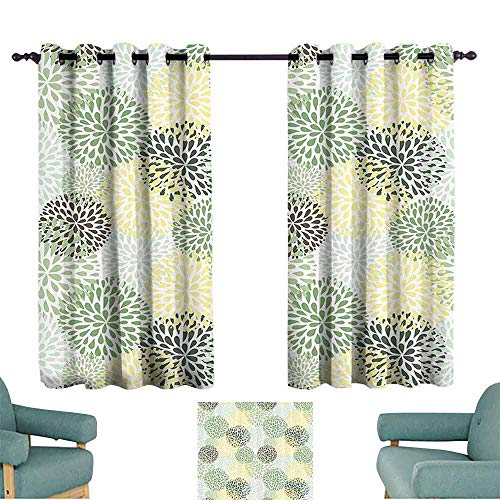 House Decor Collection Bedroom windproofcurtain Modern Floral Ornate Petals Flourish Traditional Springtime Garden Leaves Image Pattern Darkening and Thermal Insulating 55