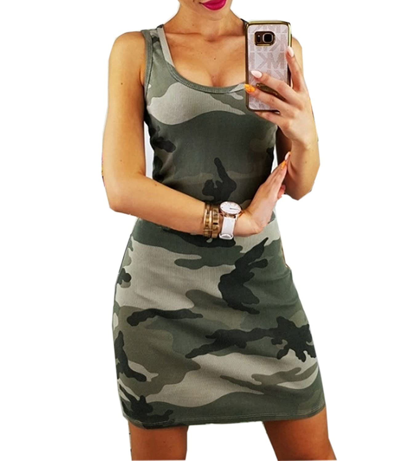 1342bf5afd2 Mansy Women s Summer Camo Sexy Bodycon Sun Tank Dresses at Amazon Women s  Clothing store