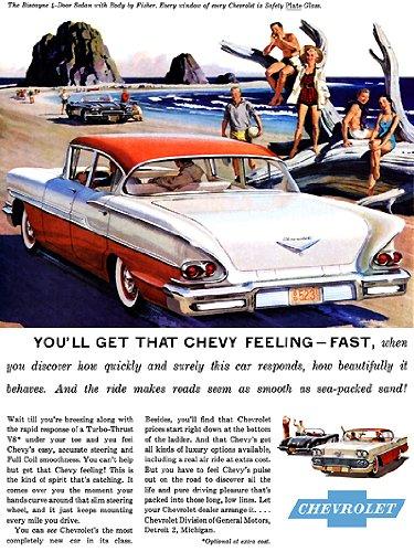 1958 Chevrolet Biscayne Ad Digitized & Re-mastered Car Poster Print ()