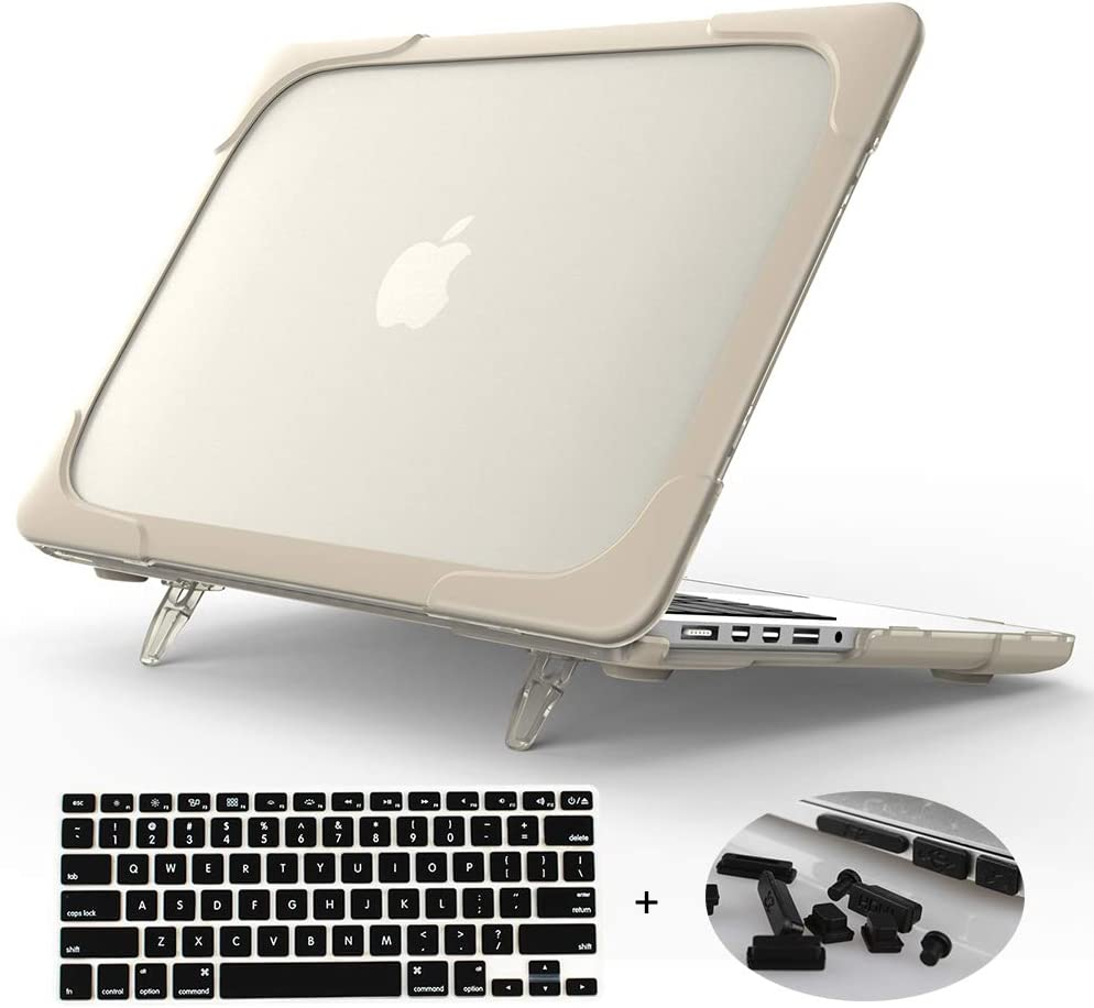 Mektron[Heavy Duty][Snap on][Dual Layer] Rubberized Hard Case Cover for MacBook Pro 15 inch with Retina Display Model A1398 (NO CD-ROM Drive,NO Touch bar) (Khaki)