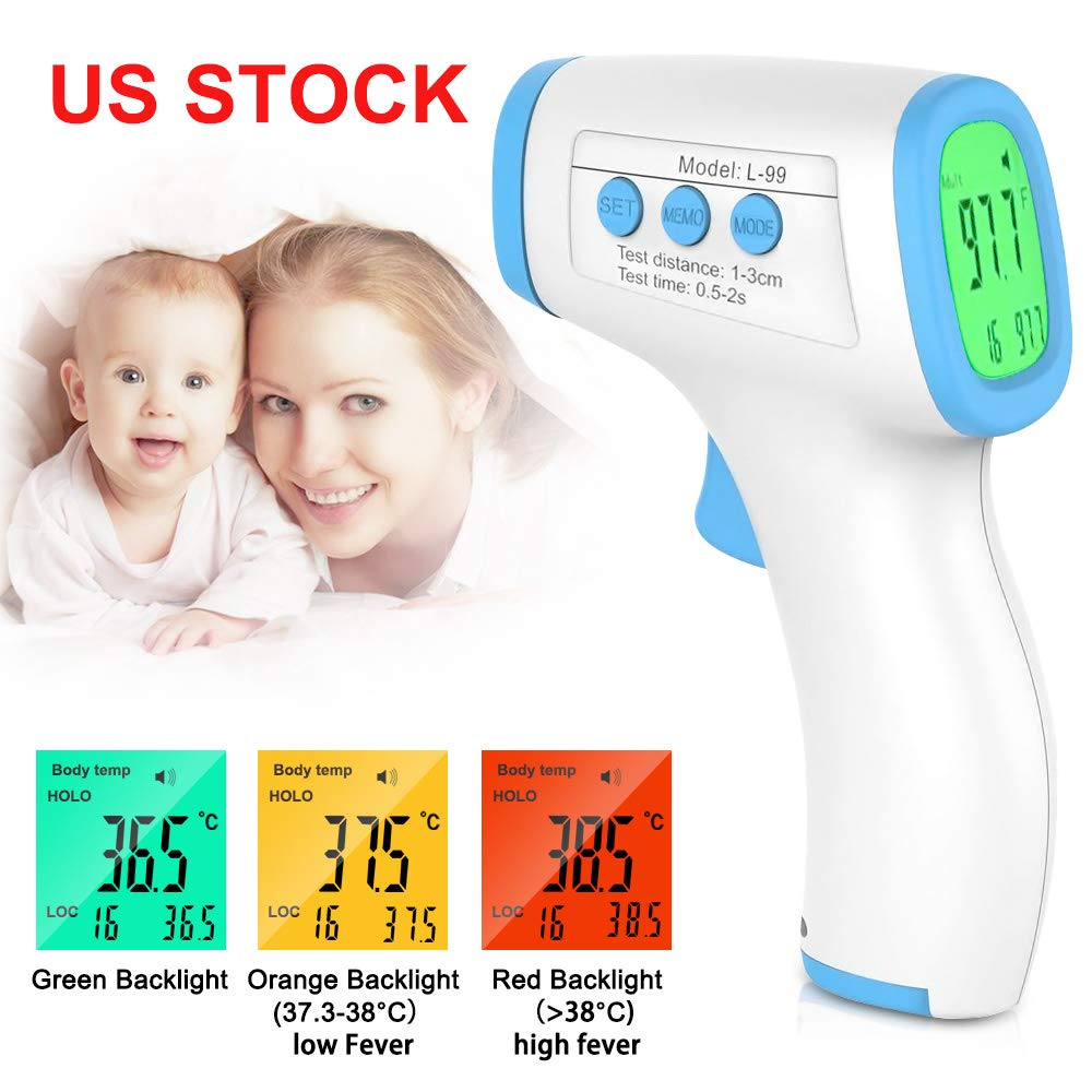 Infrared Digital Non-Contact Accurate Instant Readings Forehead Thermometer with LCD Display No Touch Blue Forehead Thermometer for Adults Kids Baby