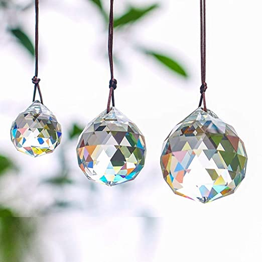 Shine Blue Crystal Chandelier Ball Rainbow Sun Catcher Wedding Decor Lamp