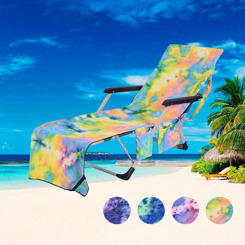 Pieghevole Portatile Cuscino da Spiaggia in Microfibra per Sdraio Telo da Spiaggia 75 x 210 cm Finebo Fodera per Sdraio da Giardino Tasca Laterale