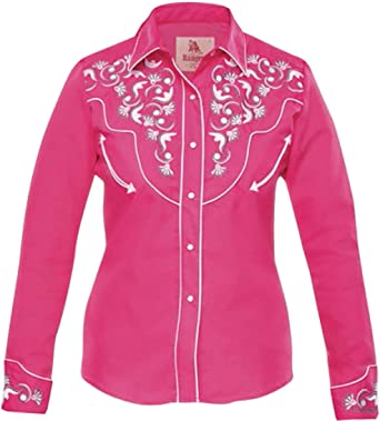 Modestone Womens Embroidered Long Sleeve Fitted Western Camisa Vaquera Floral Fuchsia: Amazon.es: Ropa y accesorios