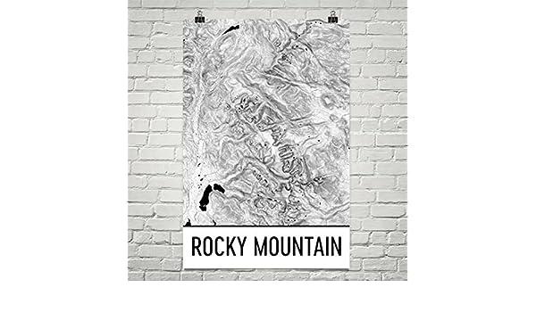 Modern Map Art Presión del Rocky Mountain National Park, montañas ...
