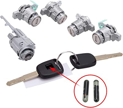 Ignition Switch Cylinder /& 4X Left Right Door Lock Cylinder W// 2 Keys For Honda 2003-2005 Civic 2002-2006 CR-V 2003-2011 Element 2004 2005 S2000