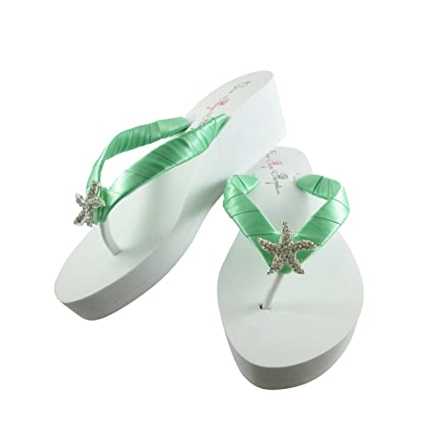 9b856b11f4584 Amazon.com: Starfish Wedding Flip Flops, Mint Green, White 2 inch ...