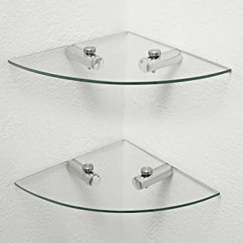 2 x Glass Corner Shelves, Bathroom Shelves, Kitchen Shelves, Storage ...