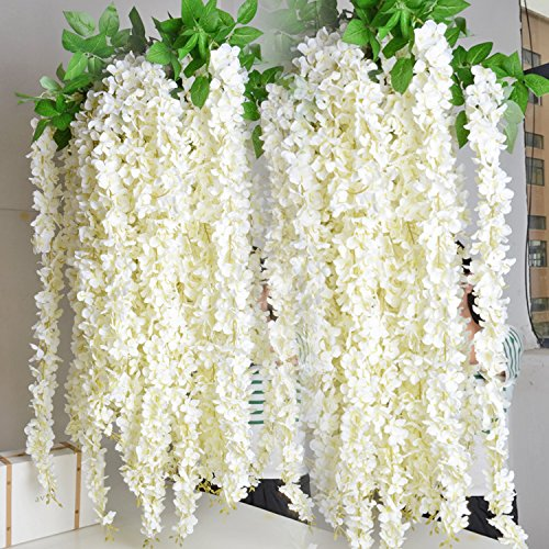 Colorfulife 10pcs 164cm Long Artificial Silk Wisteria Flower Vine Cane Floral Rattan Hang Garland Plant Wedding Party Centerpieces Ornament Room Window Balcony Home Garden Decoration (White) by Colorfulife (Image #3)
