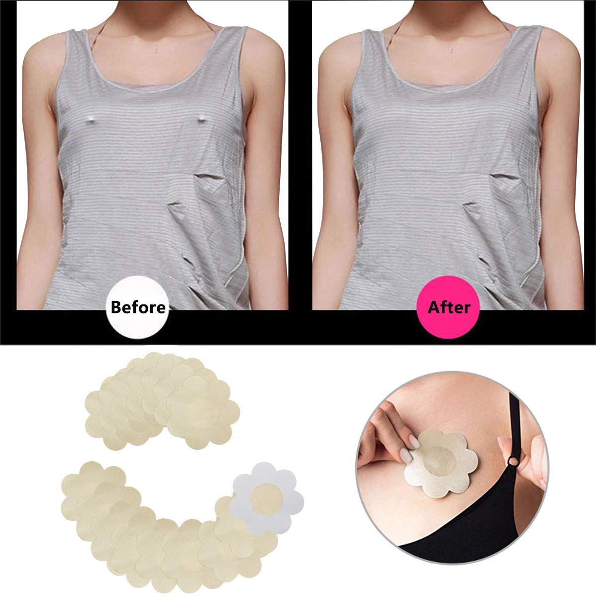 Nipple Covers Disposable 10 Or 20 Pcs Adhesive Invisible Satin Breast Pasties Multi Design