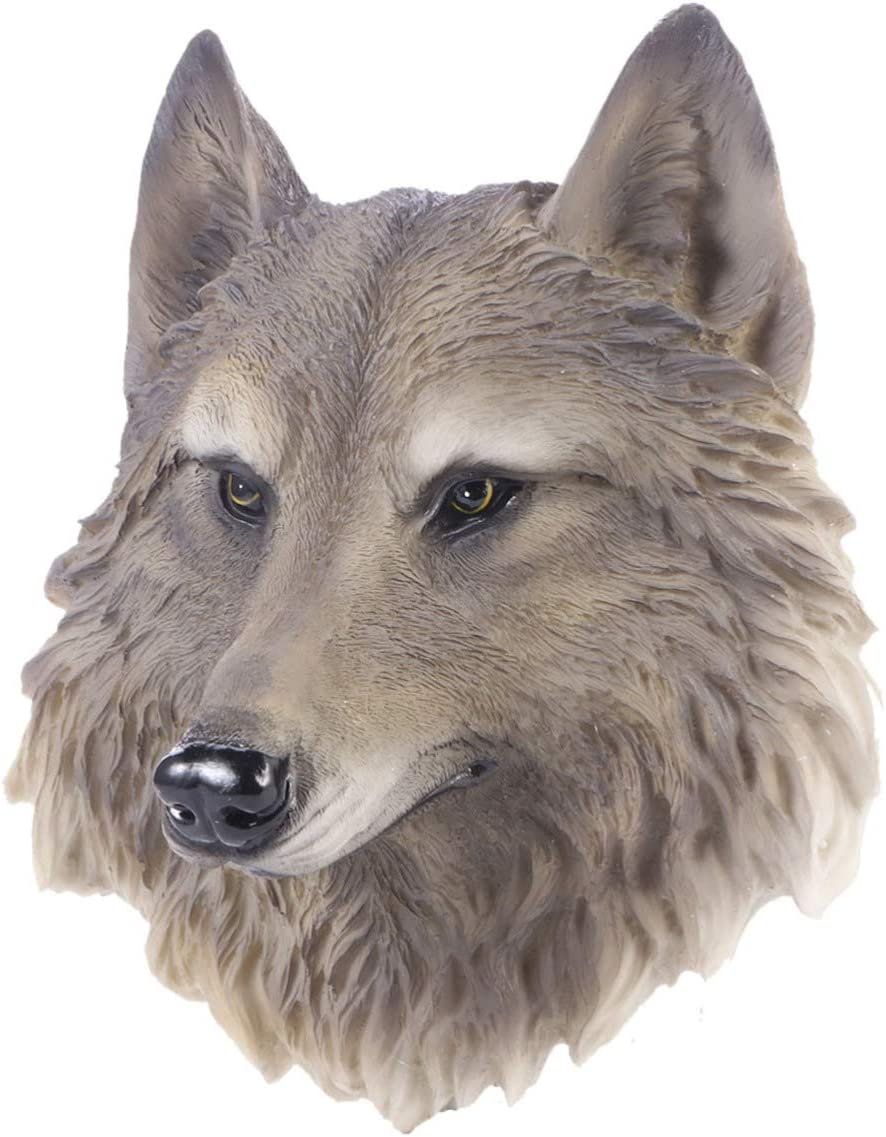 VOSAREA Resin Wolf Head Wall Statue Realistic Animals Head Wall Hanging Sculpture Farmhouse Wall Decoration Ornament