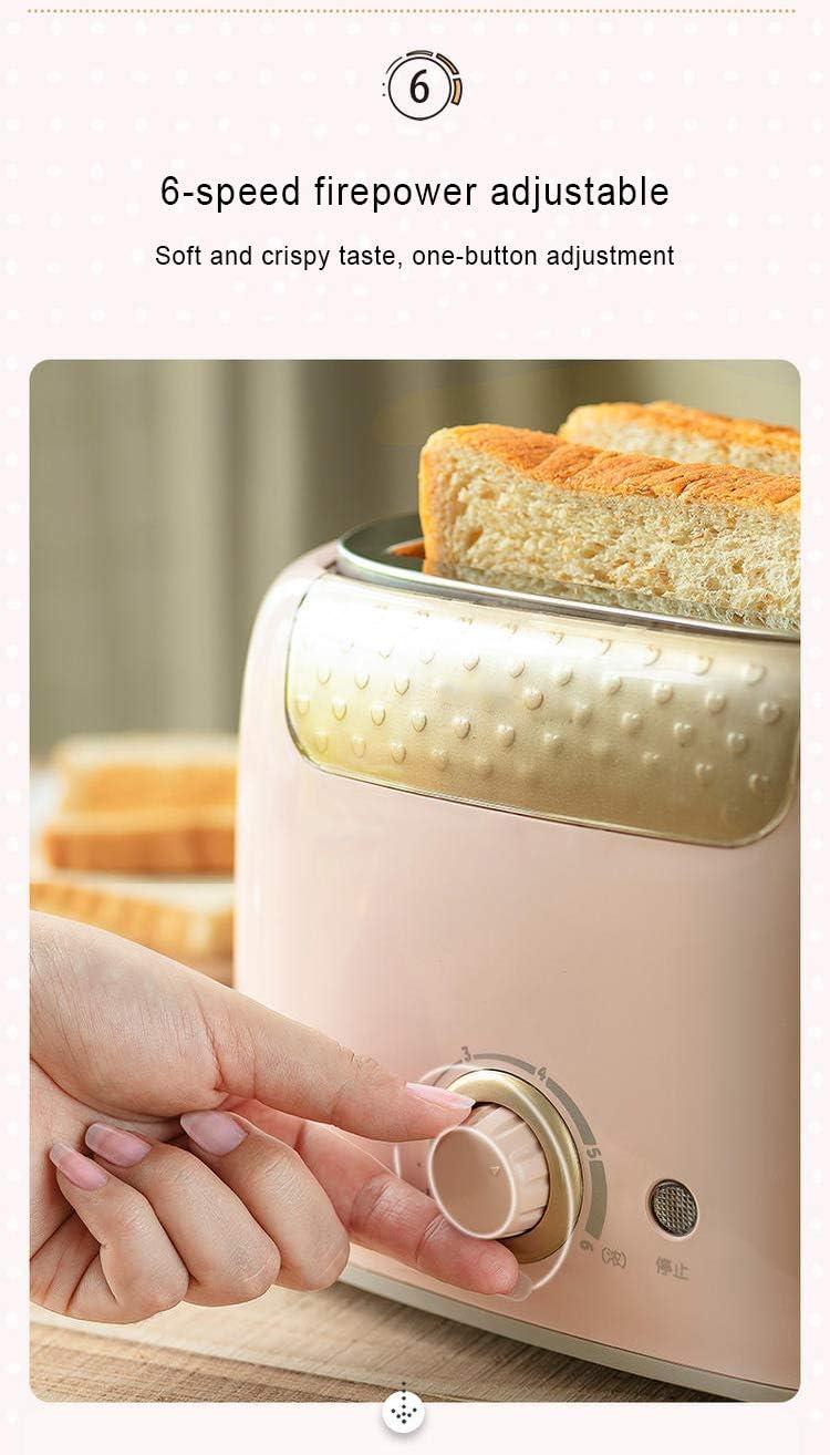 2-Slice Toaster Mini Per Il Pane, 6 Pane Ombra Impostazioni Pane Tostapane, Extra Largo Slot E Crumb Vassoio Estraibile, 680W,Verde Pink