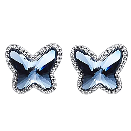 5b15600acc66 Pendientes Swarovski® Mariposa para Mujer. Plata de Ley 925, Cristal  Swarovski Elements Autentificado Color Azul Vaquero (Blue Denim). Caja con  ...