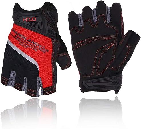 Adjustable Velcro Breathable Padded Anti-Slip Fingerless Gloves Red