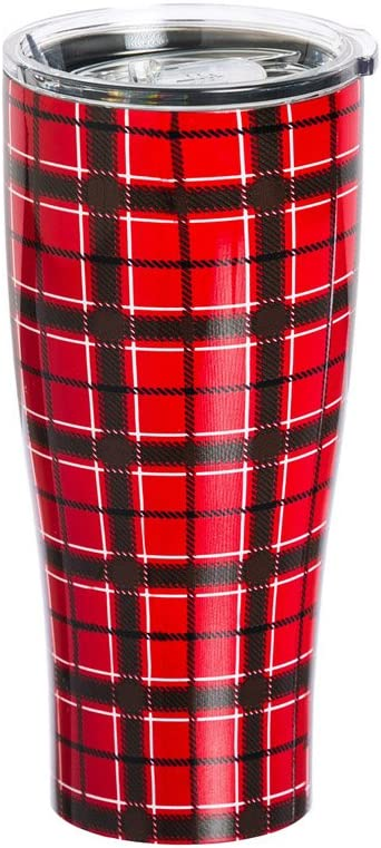 Red Plaid Steel Cup - 3 x 3 x 8 Inches