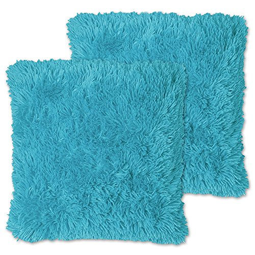 Sweet Home Collection Plush Pillow Faux Fur Soft and Comfy Throw Pillow (2 Pack), Turquoise